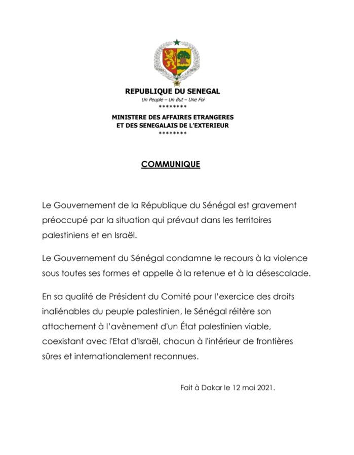 Situation en Palestine: le Gouvernement sénégalais condamne le recours à la violence
