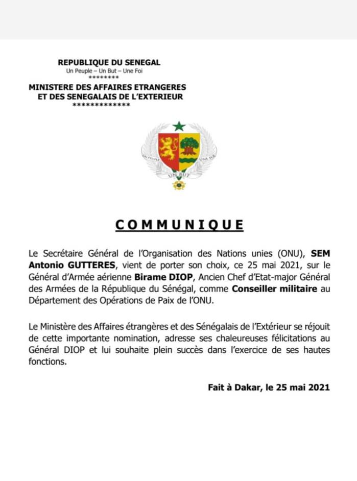 Nomination du Général Birame Diop à l'ONU: le Ministère des affaires étrangères s'en réjouit