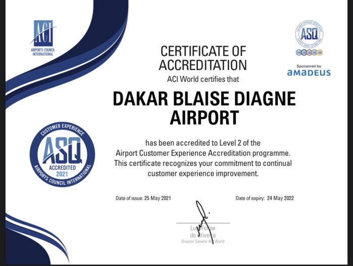 Diass : L'Aéroport International de Dakar Blaise Diagne passe au niveau 2 de l'Accréditation ACI ASQ Airport Customer Experience.
