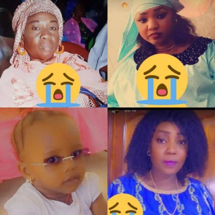 Kaolack : Identification des 4 membres d'une même famille et de leur chauffeur qui ont péri dans un accident.