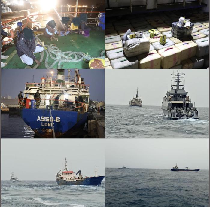Trafic de drogue: le Navire Cargo «ASSO6» intercepté par la marine transportait 8370 kg de haschich et 349 tonnes de plâtre.