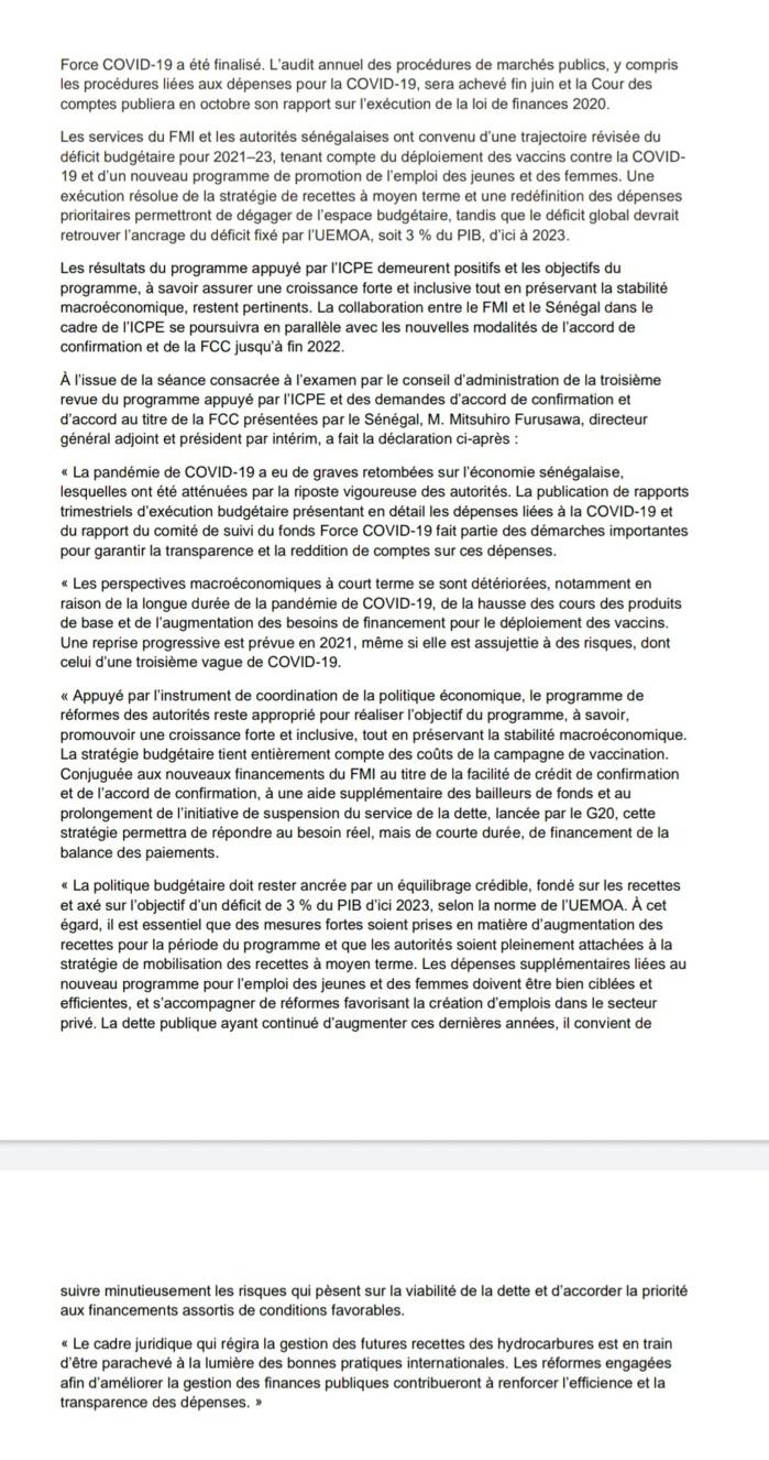 Riposte face à la COVID-19 : le FMI approuve un financement de 350 milliards de FCFA en faveur du Sénégal