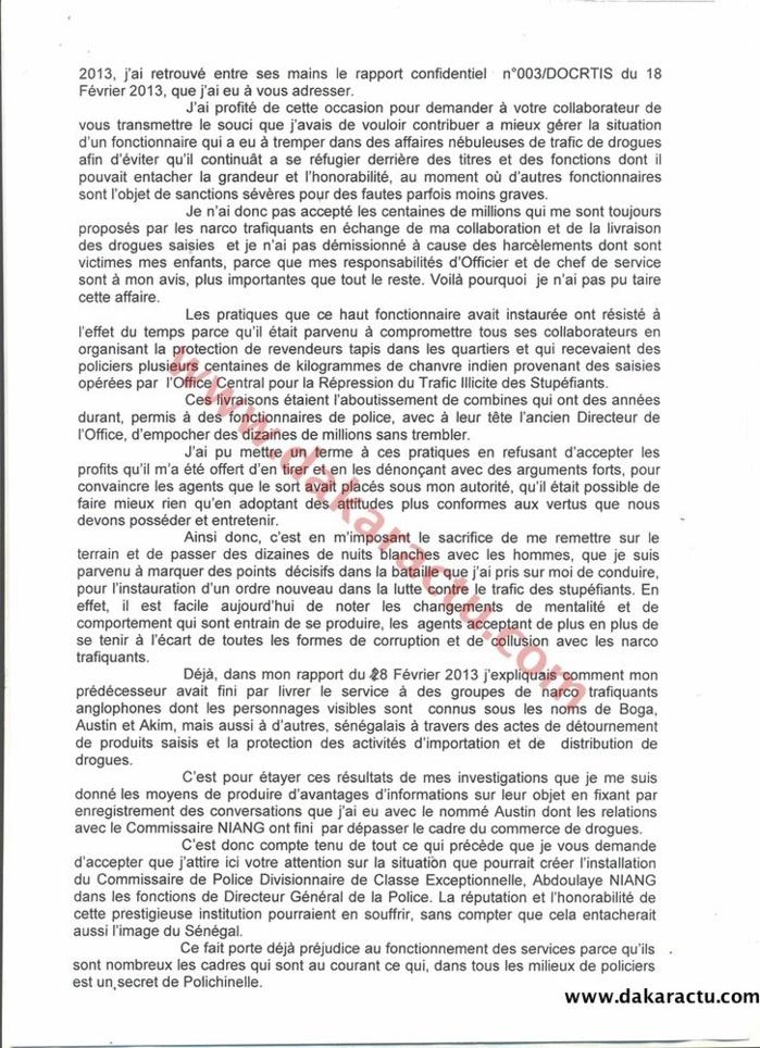 Rapport du Commissaire Keïta : L'alerte envoyée au Ministre de l'intérieur pour prévenir une nomination périlleuse du Commissaire Niang comme DGPN. (DOCUMENTS)