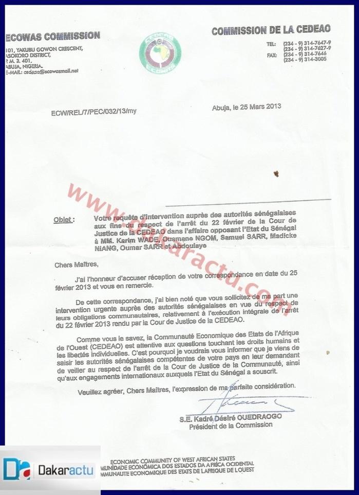 Le document de la Cedeao qui garantissait des droits à Karim et Compagnie.