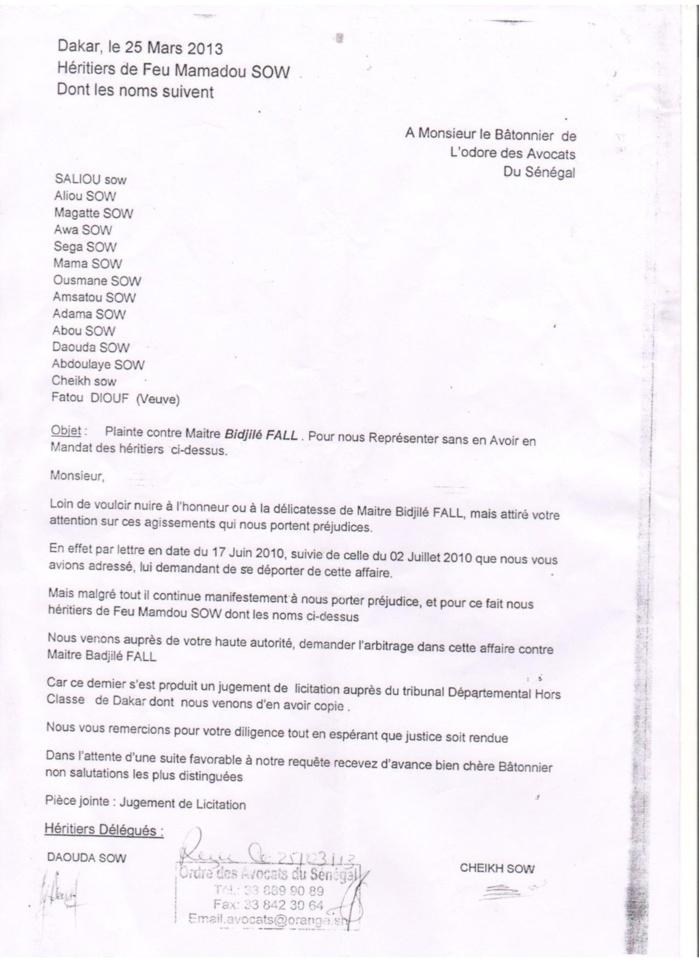 L'avocat Me Bidjilé Fall accusé de vouloir faire main basse sur leur héritage, faux sur document administratif, abus de confiance...  La famille plaignante de feu Mamadou Sow demande l'arbitrage de Macky Sall