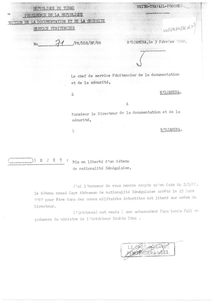 Affaire Habré : Humain Rigths Watch confirme le récit d'Abdourahmane Guèye (DOCUMENTS)