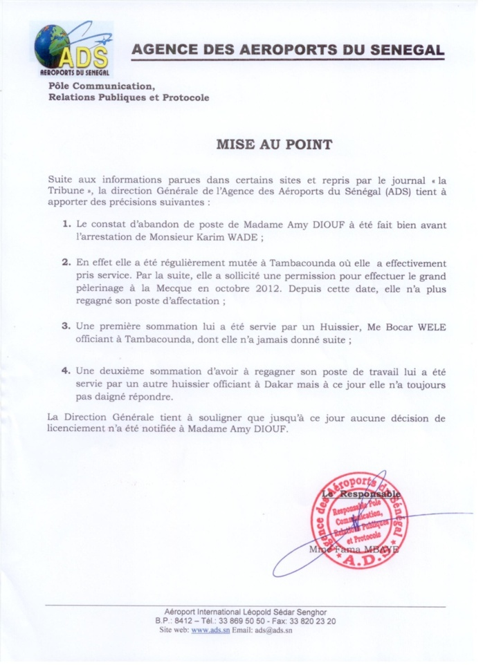 Affaire Amy Diouf : Les mises au point de l'Ads