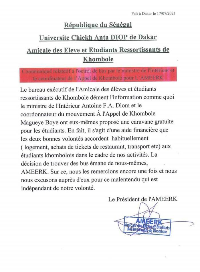 Acheminement des étudiants de Khombole pour la Tabaski : l'AMEERK lave à grande eau le Ministre de l'Intérieur Antoine Diome