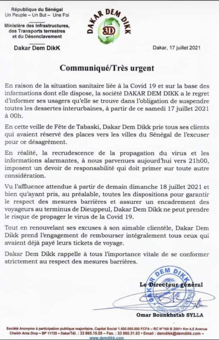 Tabaski et Covid-19 : Dakar Dem Dikk suspend toutes désertes interurbaines pour limiter la propagation du virus.