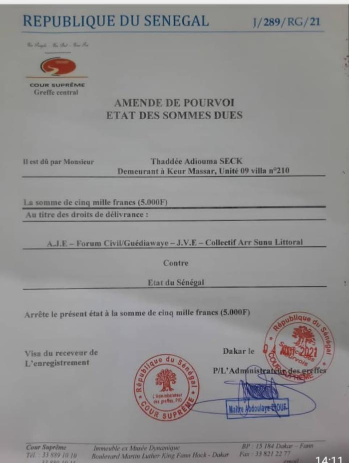 Déclassification de la bande de filao : «Aar Sunu Littoral» a déposé un recours pour l'annulation du décret présidentiel n°2021-701.