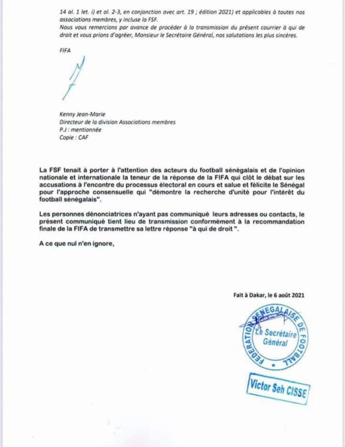 Officiel / La FIFA désavoue le CODEFS et conforte la FSF : «Nous sommes confiants que les élections de la FSF se tiendront dans le respect...» (Document)