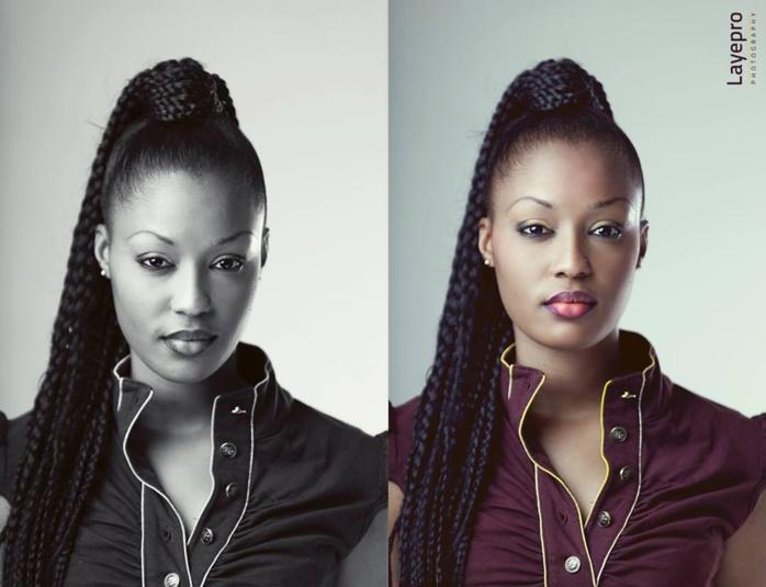 La top-modèle sénégalaise, Caramel Fall en noir et blanc
