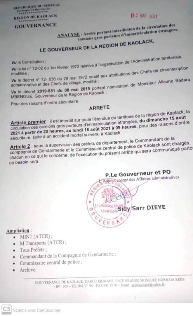 Kaolack: interdiction de circulation des gros porteurs d'immatriculation étrangère jusqu'à demain 9h ( arrêté)