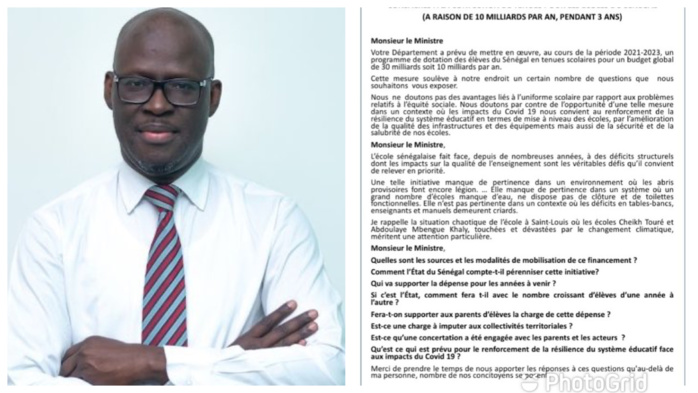 30 MILLIARDS POUR DES TENUES SCOLAIRES : Le député Cheikh Bamba Dièye a adressé une question écrite au ministère de l'éducation nationale (DOCUMENT)