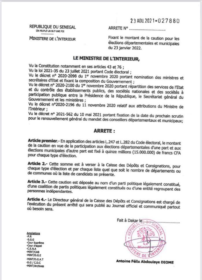 Municipales et départementales 2022 : Le montant de la caution fixé à 15.000.000 FCfa pour chaque type d'élection.  (DOCUMENT)