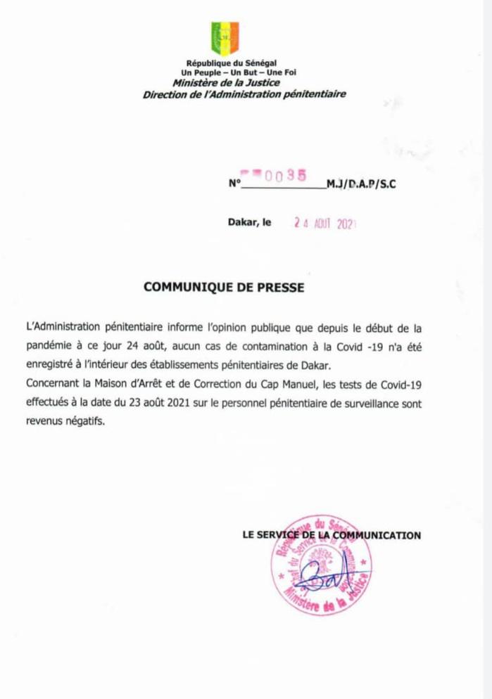 Covid-19 et rappel à Dieu de Habré : les précisions de l'administration pénitentiaire