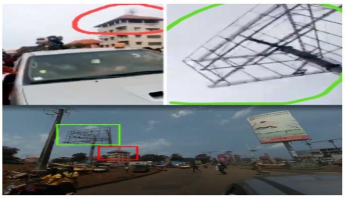 En haut à droite et à gauche, capture d'écran de la vidéo virale. En bas, capture d'écran du même endroit au rond-point de Bambéto sur Google Street View. En haut à droite et à gauche, capture d'écran de la vidéo virale. En bas, capture d'écran du même endroit au rond-point de Bambéto sur Google Street View. © Google street view / Observateurs