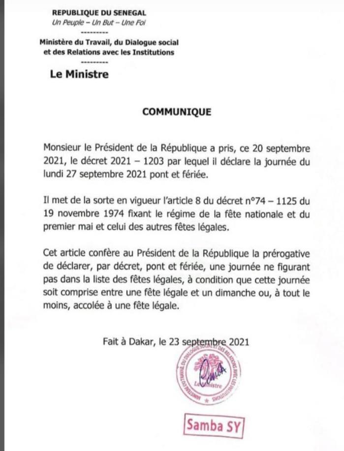 Magal : le lundi 27, lendemain de l'évenement, déclaré férié par le Chef de l'Etat