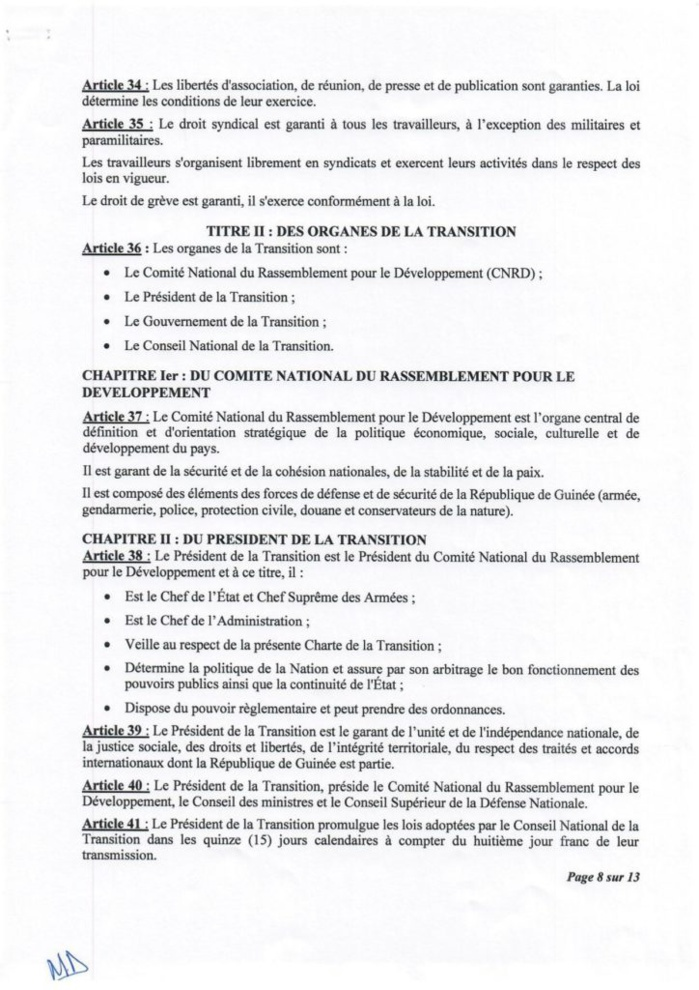Guinée : le Cnrd publie sa charte de transition, le Président Doumbouya pas candidat à la prochaine présidentielle selon les médias guinéens