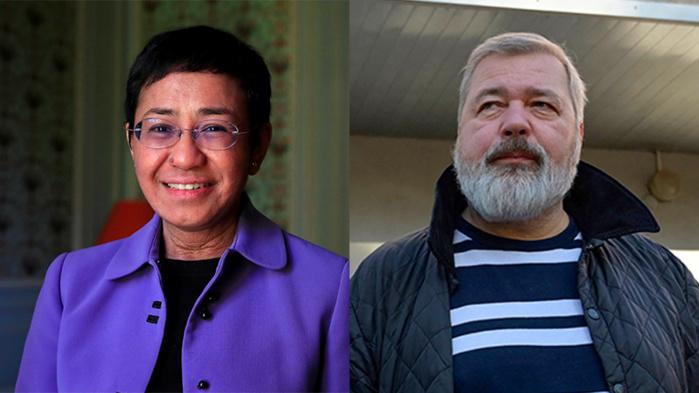 Prix Nobel de la paix 2021 : les journalistes Maria Ressa et Dimitry Muratov remportent la distinction.
