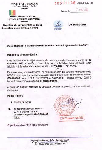 Histoire des bateaux russes arraisonnés au large de la Guinée-Bissau: 200 et 400 millions FCFA réclamés à la partie russe.