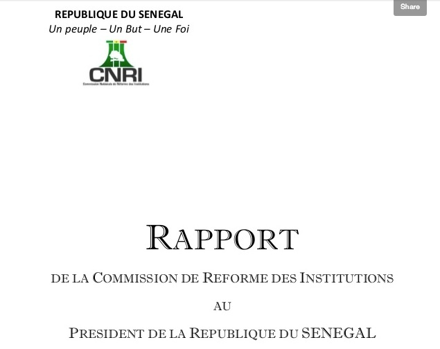 Voici le rapport complet de la Commission nationale de réforme des institutions – CNRI (DOCUMENTS)