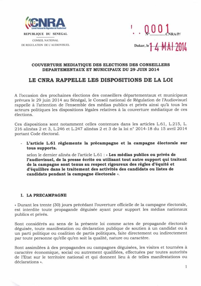Couverture médiatique des élections des conseillers départementaux et municipaux du 29 juin 2014 : Le CNRA rappelle les dispositions de la loi (DOCUMENT)