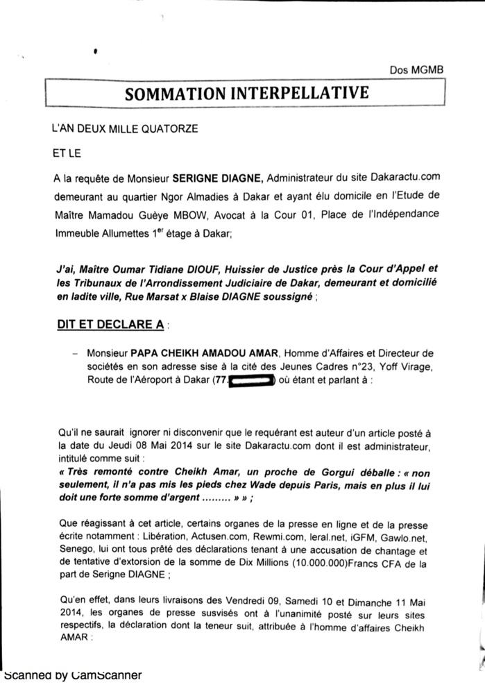 Sommé par voie d'huissier de prouver ses accusations de chantage et d'extorsion de fonds contre Serigne Diagne, Cheikh Amar dépose enfin sa citation directe pour…diffamation. (DOCUMENTS)