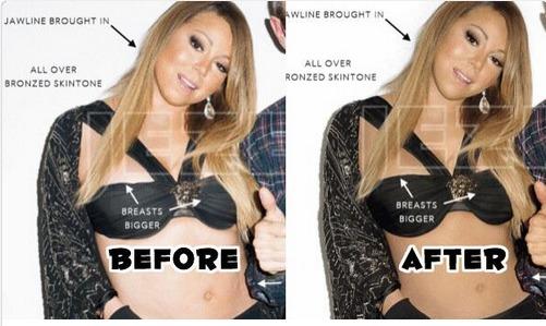 Mariah Carey, avant et après Photoshop