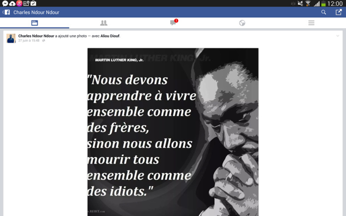 L'une des dernières publications de Charles N'dour sur son mur Facebook