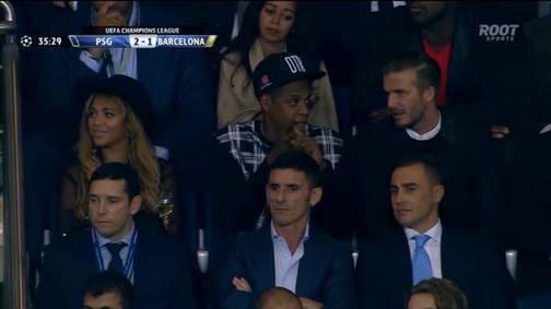 Match PSG/Barça : le couple Beyoncé et Jay Z en compagnie de David Beckham au Parc des Princes