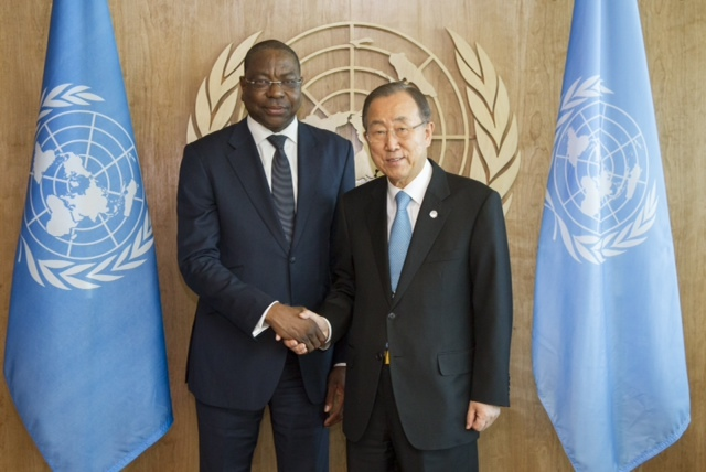 Mankeur Ndiaye avec Ban Ki Moon Sg de l'ONU et le Prince saoudien Saoud Al. Faycal, ministre des Affaires étrangères
