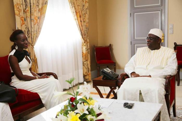 Coumba Gawlo reçue en audience par le président de la République Macky Sall.