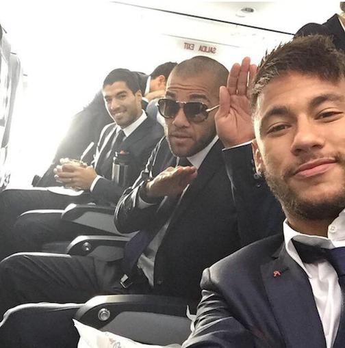 Le selfie des joueurs barcelonais avant le match contre le Real de Madrid