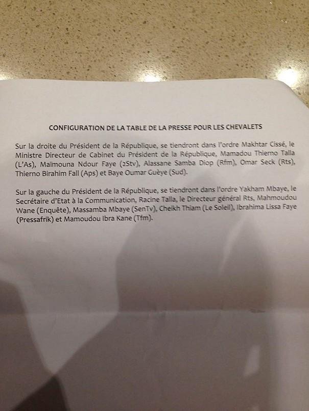 Macky rencontre la presse triée sur le volet au terrou-Bi: La liste (En exclusivité)