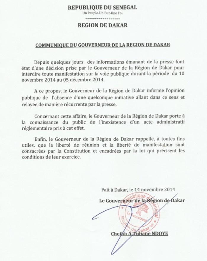 Le Gouverneur de Dakar dément avoir interdit toute manifestation sur la voie publique