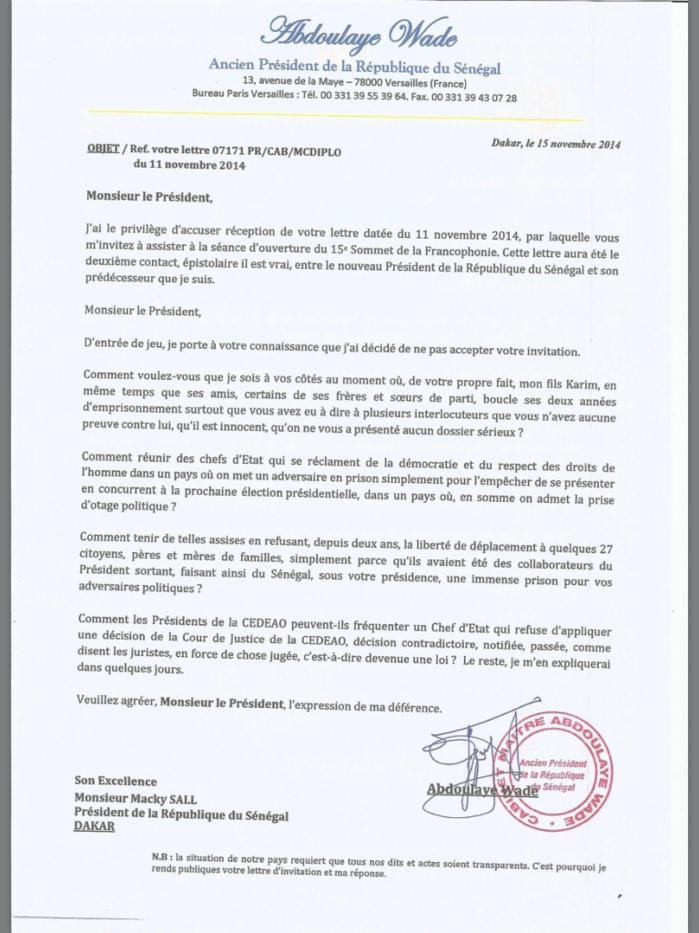 Exclusif : Maître Abdoulaye Wade décline l'invitation du Président Macky Sall (DOCUMENT)