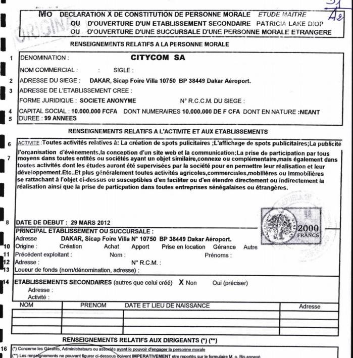 Rapport de la CREI sur les sociétés appartenant à Wade fils (DOCUMENTS)