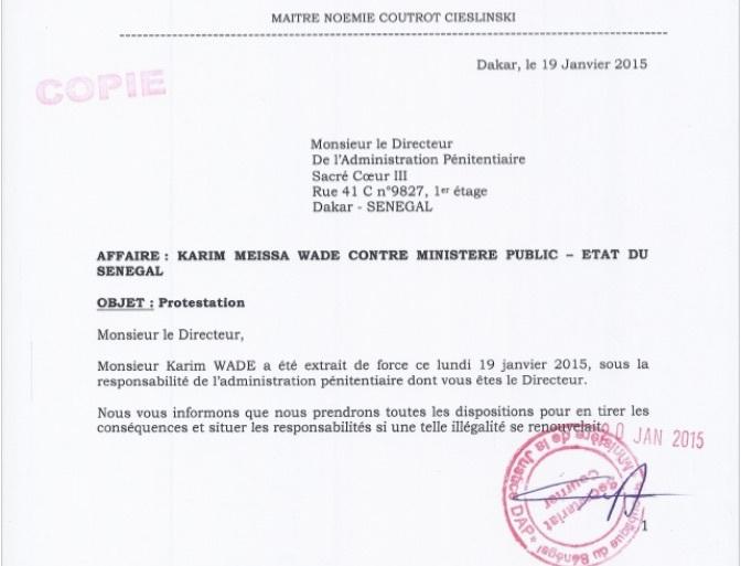 La lettre que le pool d'avocats de Karim Wade a adressée au Directeur de l'Administration pénitentiaire