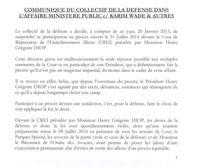 Communiqué du collectif de la défense dans l'affaire ministère public vs Karim Wade & autres (DOCUMENT)