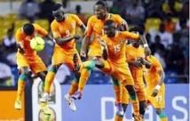 Vestiaires de la Côte d'Ivoire après le triomphe final...
