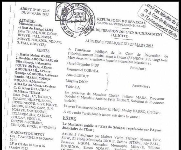 L'intégralité de l'arrêt de condamnation de Karim Wade et Cie (DOCUMENTS)