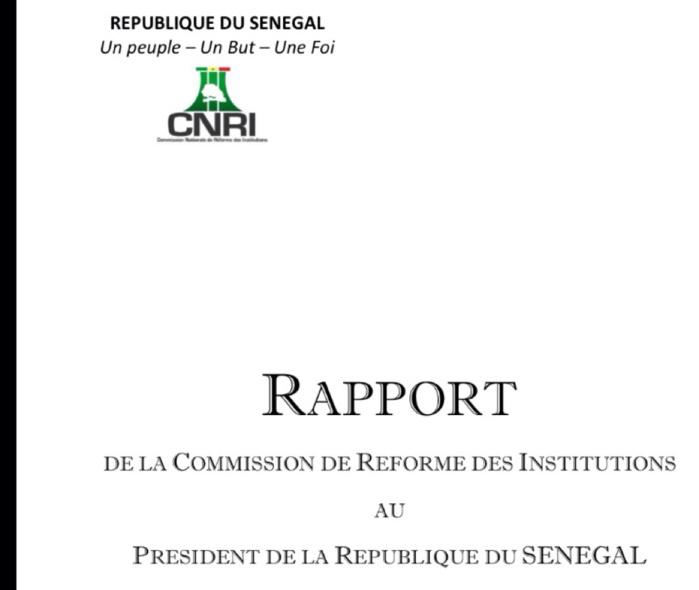 Rapport de la Commission nationale de Réforme des Institutions au Président de la République