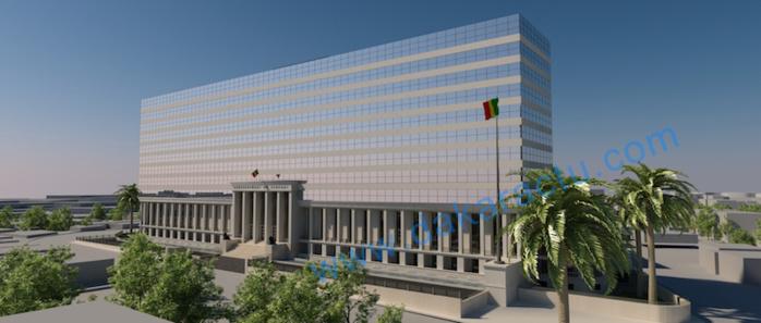 Maquette du building administratif : vue de loin