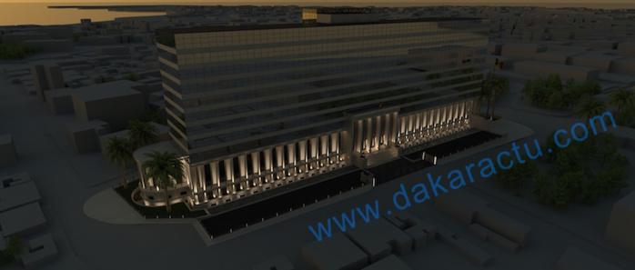 Maquette du building administratif : vue de nuit