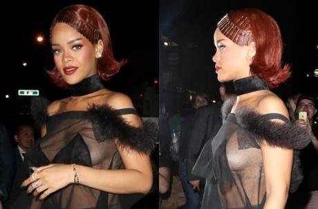 Rihanna seins nus dans la rue à cause d'une tenue mal portée