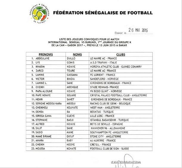 FOOTBALL  : Voici la liste des 23 Lions sélectionnés pour Sénégal/Burundi