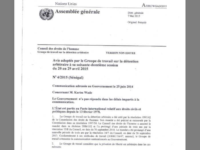 KARIM EN PRISON- Le Groupe de Travail sur la détention arbitraire de l'Onu expose les incongruités d'un procès et exige sa libération (DOCUMENTS)