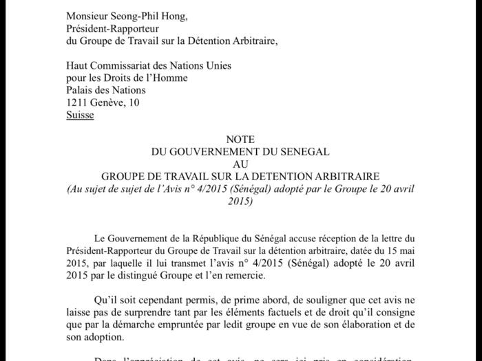 La réponse de la République du Sénégal à la demande du groupe de travail sur la détention arbitraire (DOCUMENT)