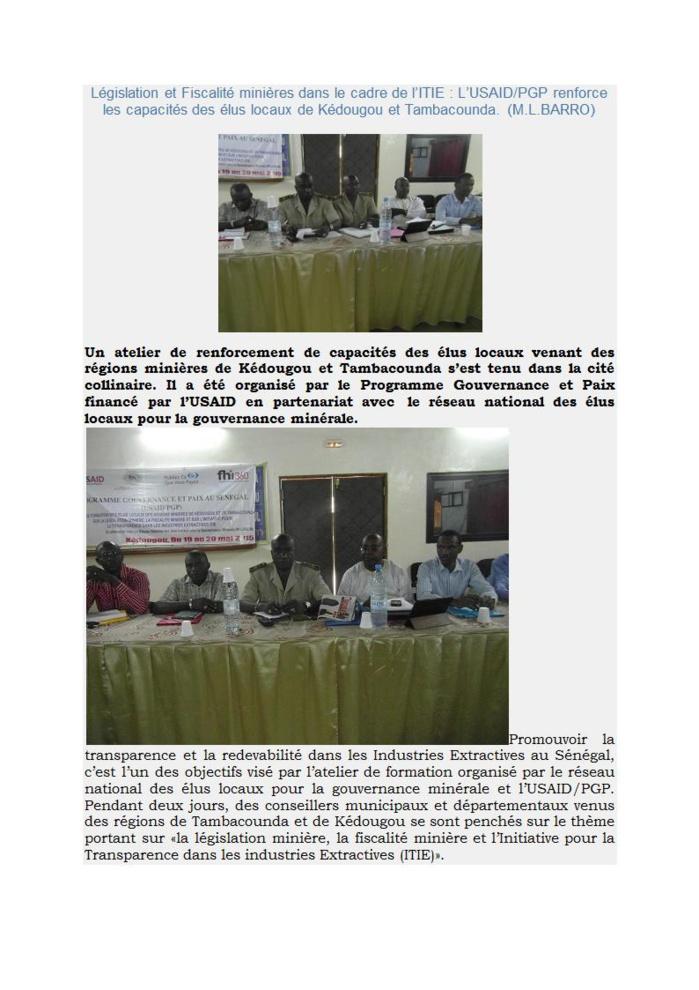 Législation et Fiscalité minières dans le cadre de l'ITIE : L'USAID/PGP renforce les capacités des élus locaux de Kédougou et Tambacounda